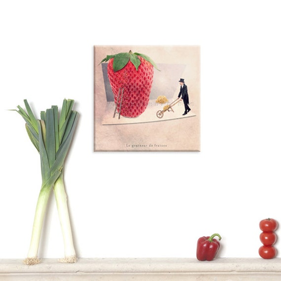 Canvas Gallery Wrap, Wall Art Canvas, Photo Canvas Prints, Strawberry, Fruit Photography, Red decor, Home Kitchen Decor, Kitchen art