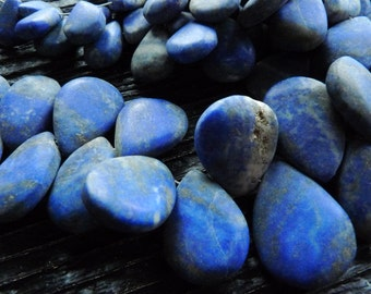 big lapis lazuli matte briolette drop pendant beads, blue lapis beads, lapis lazuli jewelry, by BrazilianGems
