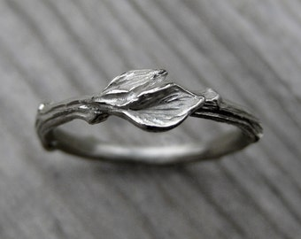 Twig Wedding Band with Leaves: White, Yellow, or Rose Gold; 14k or 18k