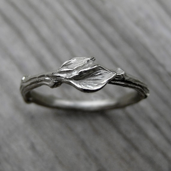 Items Similar To Twig Wedding Band With Leaves White