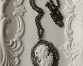 Reserved for Christine / Grey Cameo Necklace, Victorian Style, Grey and White, Gunmetal Setting Necklace Grecian Goddess
