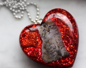 Cat Necklace, Resin Heart Pendant Necklace, Love Cat Statement Jewelry, Bright Strawberry Red Glitter, Cute Statement Heart by I Sew Cute
