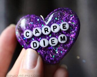 Necklace, Carpe Diem, Purple Heart, Jewelry, Big Statement Resin Glitter Jewellery Deep Purple Royal Plum, Handcrafted jewelry by isewcute