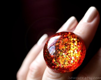 Resin Jewelry, Glitter Ring, Chunky Glitter Ring, Autumn Fall Color Red, Gold, Orange - Bold Statement Jewelry,  Modern Style by isewcute