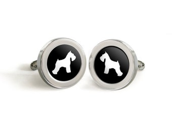 Schnauzer Cufflinks for Him - Mod Dog Custom Silhouette Tuxedo Cuff Links in your choice of color