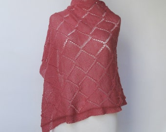 Pink Wrap Lace Merino Pink Grapefruit Pink Hand Knit Woman's Pink Shawl