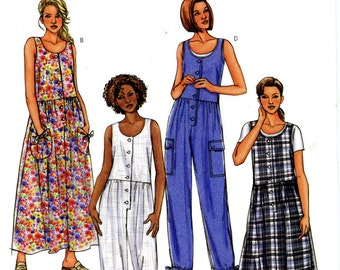 Butterick B4187 Easy Dress Jumpsuit Jumper Size 8 10 12 Uncut Sewing Pattern 2004