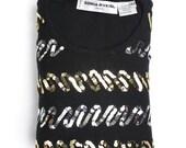 Sonia Rykiel sweater | vintage sequin wool sweater | black crewneck top | 42