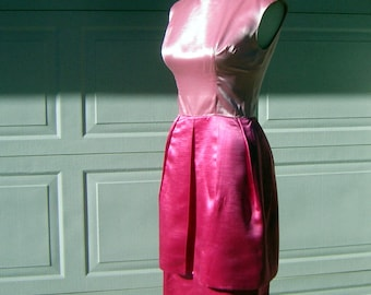 Cherry Pink Dress Sexy Satin Cocktail Party Wiggle - Small to XS - Vintage 60s