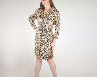 60s Cheetah Print Nylon House Dress with Tie Belt L