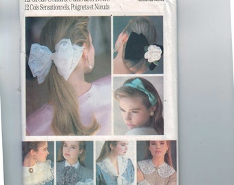1980s Vintage Accessories Sewing Pattern Butterick 5754 Misses Hair Bows Bands Cuffs Collars Lace Neovictorian Steampunk 1987 80s UNCUT