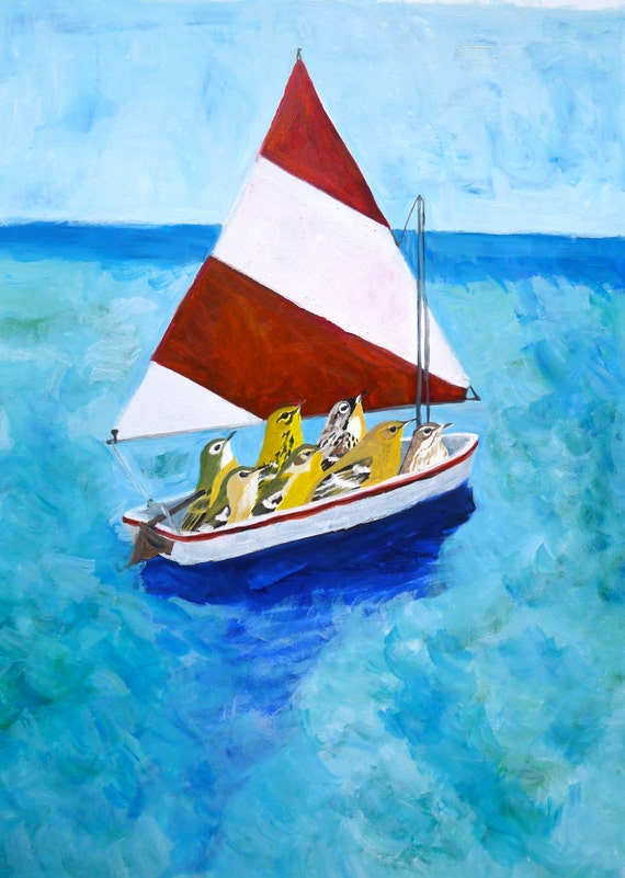 Out to sea. Original oil painting by Vivienne Strauss.