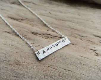 Awesome Handstamped Pendant, Stamped Awesome Geek, Aluminum Rectangle Pendant Necklace on  Chain