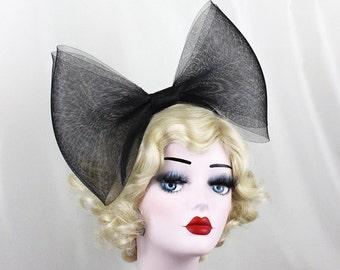 Giant Black Bow Headband, Alice Band, Adjustable, Giant Bow, Halloween Costume, Womens Hair Accessory,  Gold Fascinator