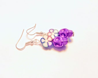 Metallic Purple and Rainbow Daisy Day of the Dead Sugar Skull Earrings