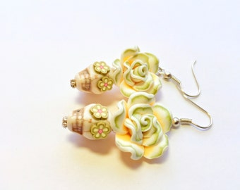 Olive Yellow Ivory Day of the Dead Roses and Sugar Skull Earrings