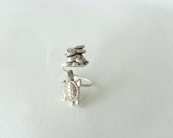 Silver turtle ring with a bunny, adjustable ring, animal ring, silver ring, statement ring