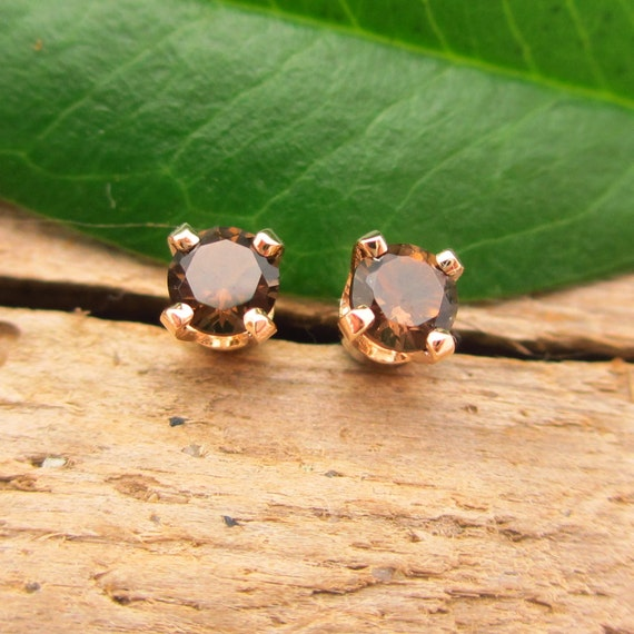Smoky Quartz Earrings in Gold, Silver, Platinum, or Palladium with Genuine Gems, 3mm - Free Gift Wrapping