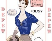 "Vintage Sewing Pattern 1950's Ladies' French Draped Blouse Multi-Size 34-41"" Bust Depew 3007 -PAPER VERSION"