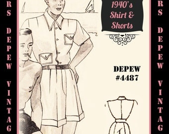 Menswear Vintage Sewing Pattern 1940's Men's T-Shirt and Shorts in Any Size Depew 4487 - Plus Size Included -INSTANT DOWNLOAD-