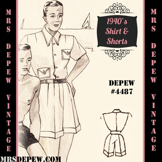 1940s Sewing Patterns – Dresses, Overalls, Lingerie etc 1940s Mens T-Shirt and Shorts in Any Size Depew 4487 - Plus Size Included -INSTANT DOWNLOAD- $9.50 AT vintagedancer.com