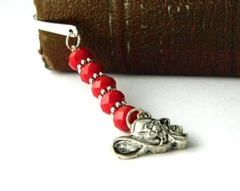Hat Bookmark with Red Ruby Quartz Glass Beads Silver Plated Steel Shepherd Hook Bookmark