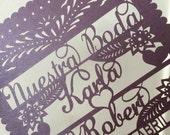 Laser cut Invitation (50 pieces and envelopes) Nuestra Boda - Papel Picado Inspired Destination Wedding Spanish Corazon Heart