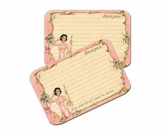 Pink Bridal Shower Recipe Cards, Wedding Recipe Cards Bridesmaid Party Gift, Retro Recipe Card, Lingerie Party, Sexy Pink Corset Recipe Card
