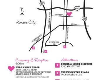 Wedding Map Custom Design / Printable DIY digital PDF / Event Party / Ceremony to Reception