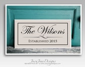 Established Date Wood Sign, Custom 10x20 Personalized Name Plaque, White Wood Sign