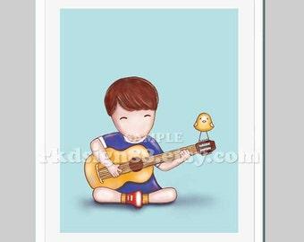 Baby nursery art ideas , baby boy nursery decor, music room kids wall art, acoustic guitar, blue, brown hair, Guitar lesson