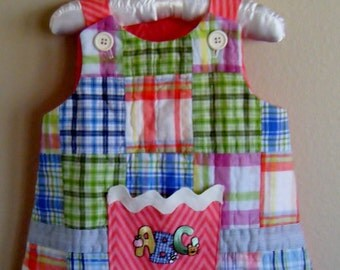 OOAK A-line jumper, front made from an Upcycled pillow sham, the back and lining made from a contrating fabric, Baby size Small, 3M to 6M