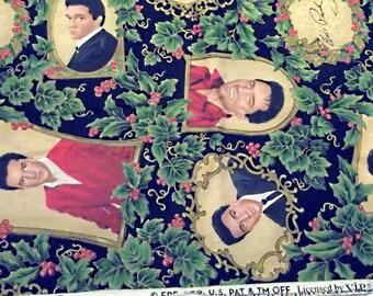 Vintage ELVIS Christmas Fabric, 1 Yard, Elvis Presley, Holiday Craft