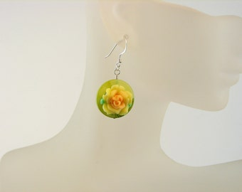 Artsy Handcraft Green and Yellow Dainty Polymer Clay Flower Earrings - - Sterling Silver - Spring -Summer - short