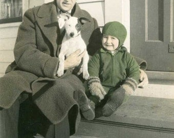 1940-50 Vintage Tinted, Color Lg Photo, Man, Child, Jack Russell Terrier Dog, Retro Style, Mid Century, Outdoor Portrait, Mens Wear Display