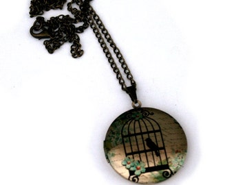 Birdcage Locket Necklace, Bird Necklace, Woodland