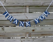 Navy Blue Thank You Banner - wedding thank you photo prop in Navy Blue and White