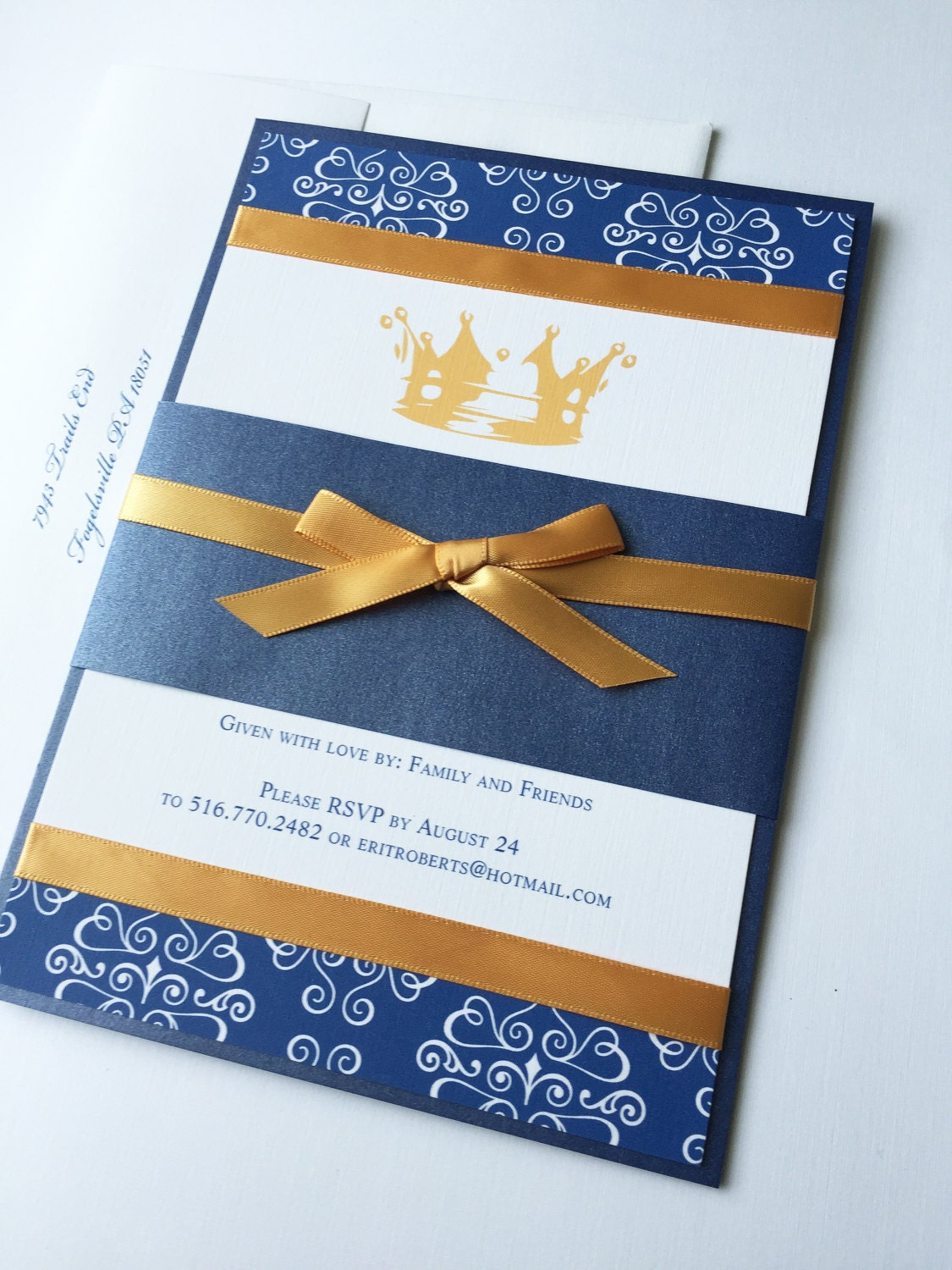 little prince royal blue and gold baby shower invitation king