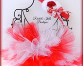 Candy Cane Tutu With Matching Headband Boutique Outfit Set Red White Holiday Preemie Newborn Infant Baby Shower Gift Photo Prop Costume Girl