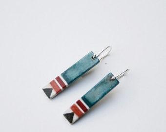 Dangle earrings, Minimalist earrings, painted earrings, tribal earrings, Blue earrings, Minimalist jewelry, gift for her, Sterling silver