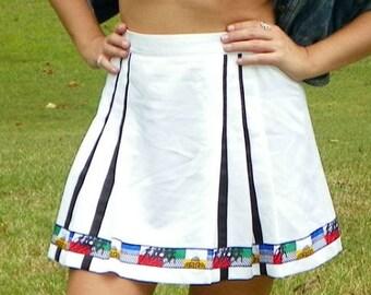 SALE 1990s Vintage Olympics White Tennis Skirt with Greek Design Mini Skirt Pleated Skirt Greek Print Athletic Skirt Size Small