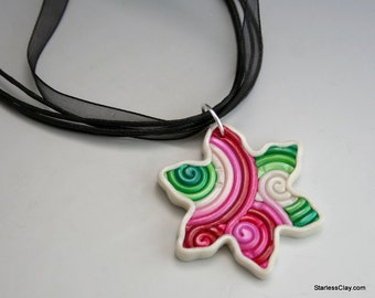Snowflake Pendant in Red and Green Polymer Clay Filigree
