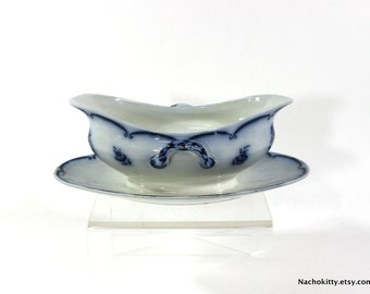 1870s Cobalt Blue & White Gravy Boat with Under Plate