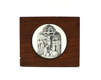1800s Magic Lantern Slide of Christ on the Cross, Wooden Case