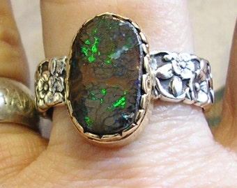 Boulder Opal Ring, Sterling Silver & 14K Gold, Size 10, Handmade, Unusual Gemstone