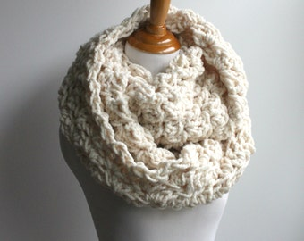 Chunky Scarf | Crochet Scarf | Lace Infinity Scarf | Bridesmaids Scarf | Snood | Feminine Scarf | Bridesmaids Gift | Chunky Knit Scarf