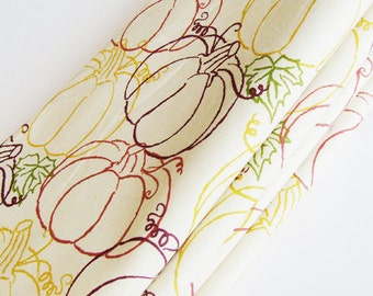 Autumn Pumpkins Cotton Napkins / Set of 4 / Fall & Thanksgiving Eco-Friendly Table Decor / Beige, Green, Gold, Purple, Red /  Gift Under 50