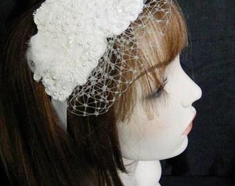 Bridal Birdcage Blusher Veil with Ivory Lace Headband, Bridal headpiece, Bridal fascinator