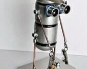 robot fishing float steampunk art sculpture figure man unique OOAK