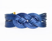 Navy blue large double infinity knotted nautical rope bracelet